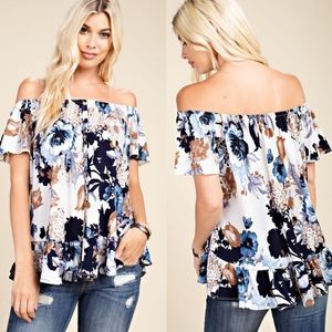 ANNIE Floral Off Shoulder top
